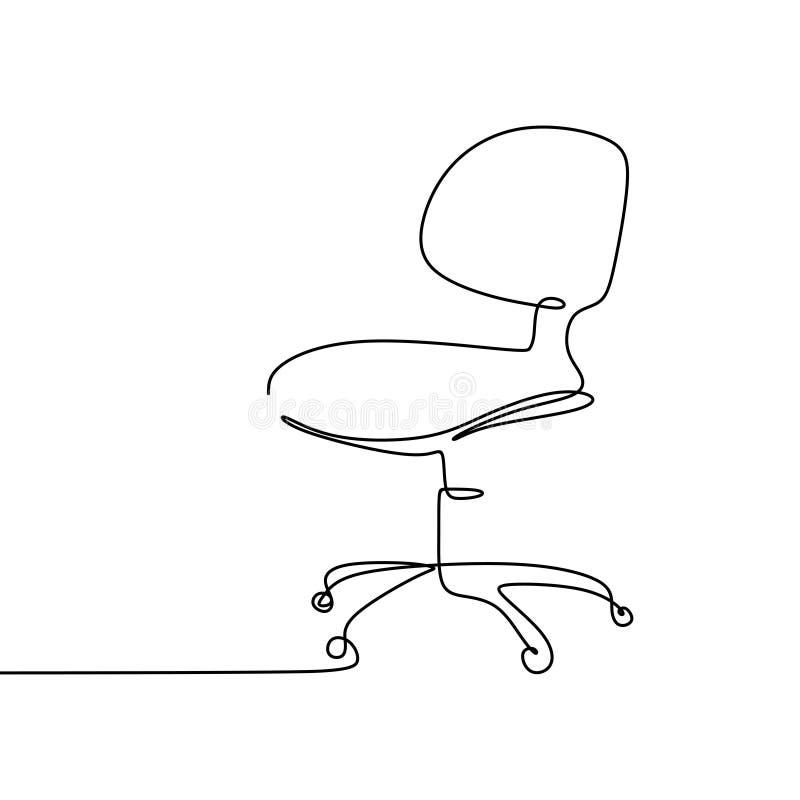 a lápis desenho contínuo da cadeira do trabalho ilustração do vetor