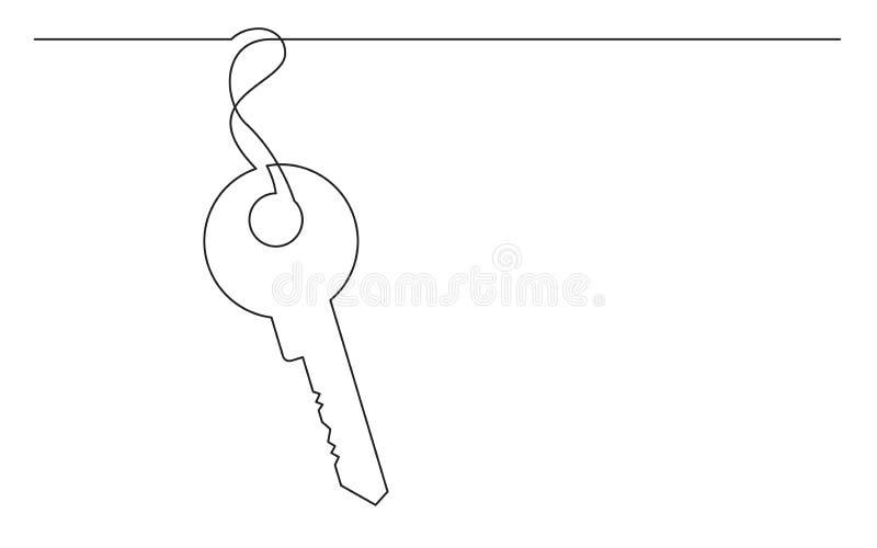 A lápis desenho contínuo da chave ilustração royalty free