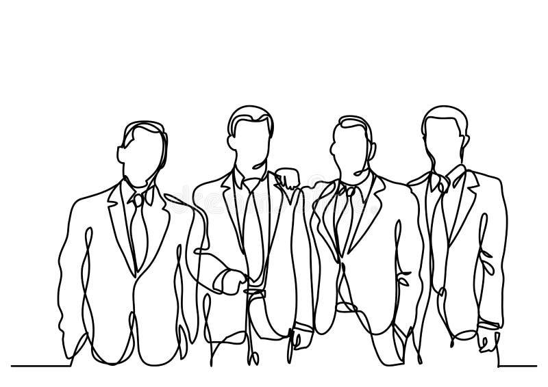 A lápis desenho contínuo da equipe dos homens de negócios ilustração royalty free
