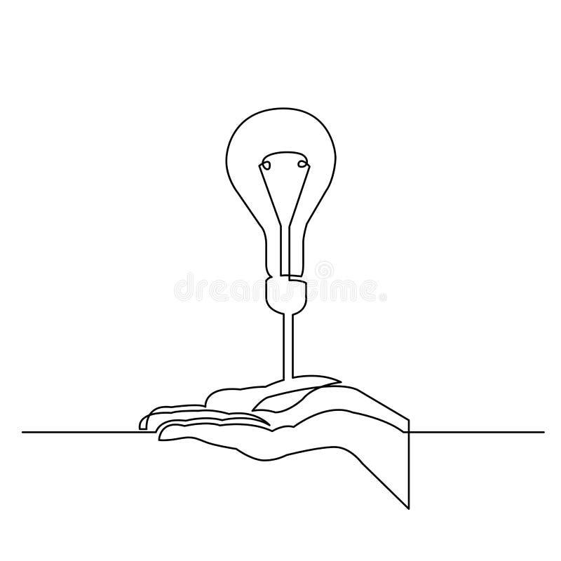 A lápis desenho contínuo da mão que mostra uma ideia nova ilustração stock