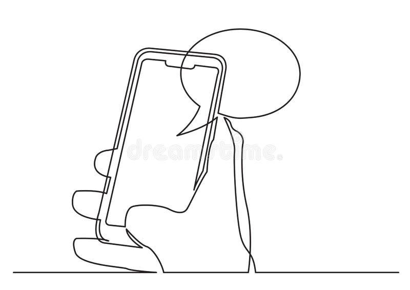 A lápis desenho contínuo da mão usando o app social dos meios no telefone celular ilustração royalty free