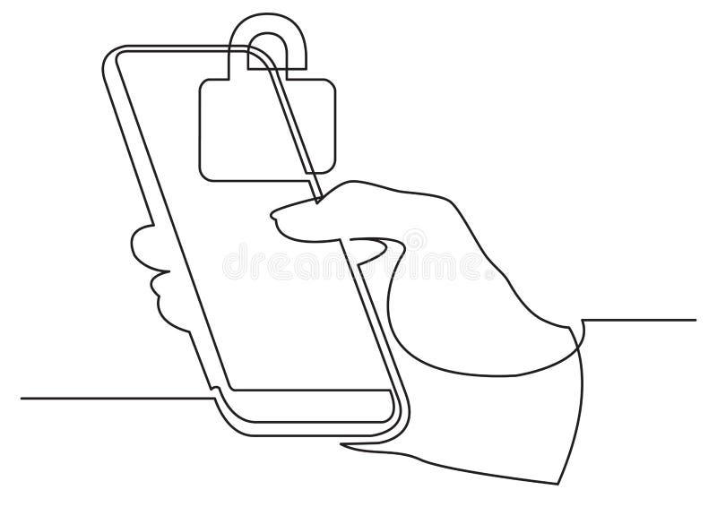A lápis desenho contínuo da mão usando o telefone celular moderno com fechamento da segurança ilustração do vetor