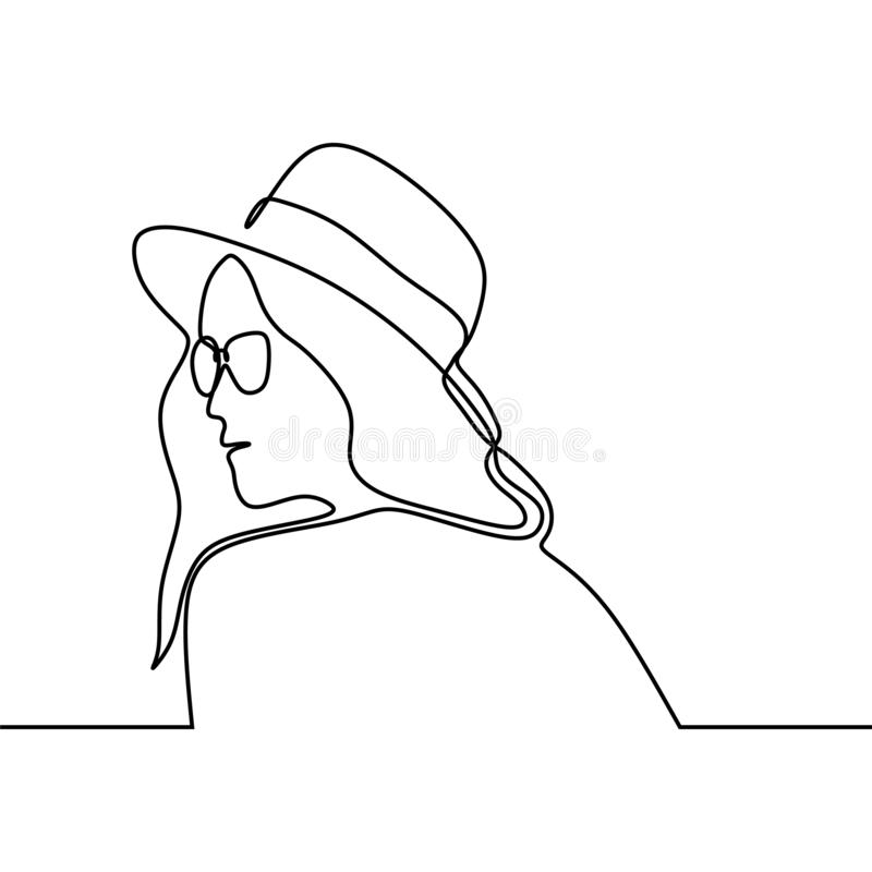 A lápis desenho contínuo da menina com o na moda do equipamento do chapéu do verão isolada no projeto branco do minimalismo do fu ilustração do vetor