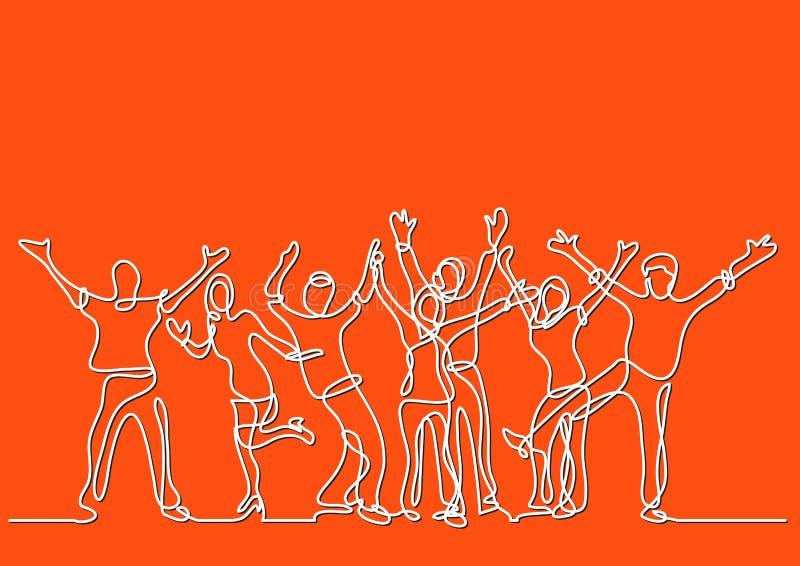 A lápis desenho contínuo da multidão alegre feliz de povos ilustração do vetor
