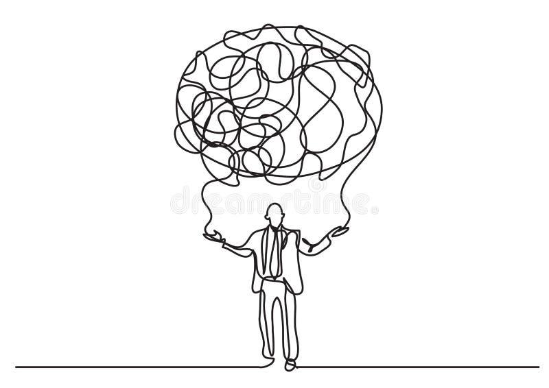 A lápis desenho contínuo da pessoa do negócio que cria a nuvem dos sentidos ilustração do vetor