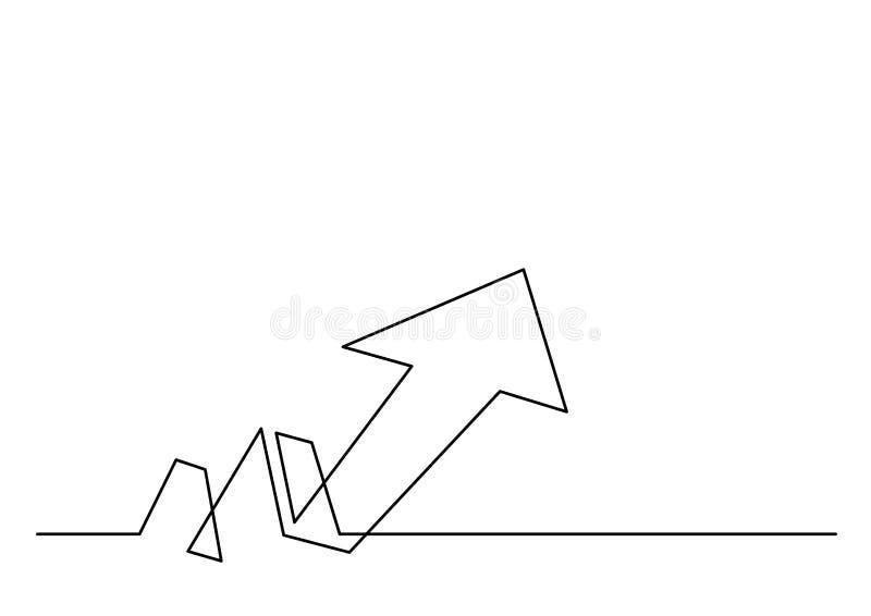 A lápis desenho contínuo da seta do crescimento ilustração stock