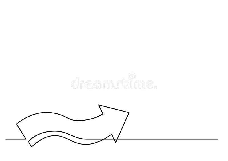 A lápis desenho contínuo da seta ondulada ilustração royalty free