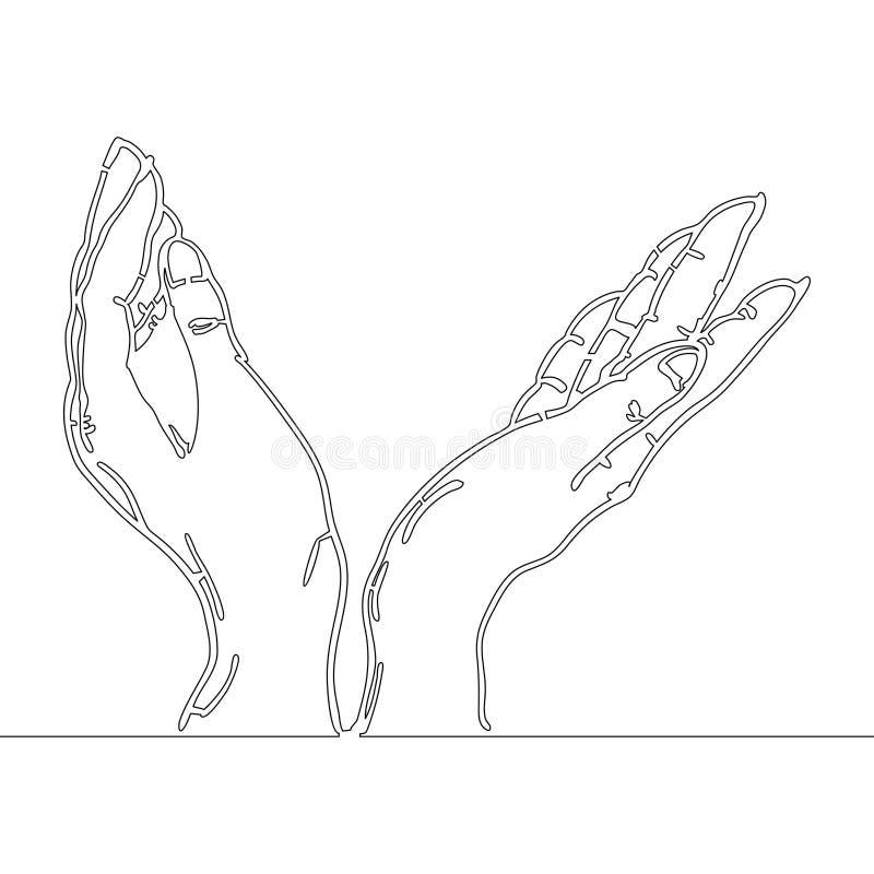 A lápis desenho contínuo das mãos que guardam algo ilustração royalty free
