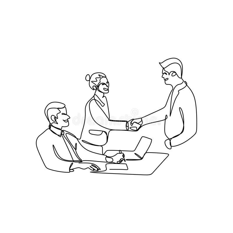 a lápis desenho contínuo das reuniões de negócios com apertos de mão ilustração do vetor