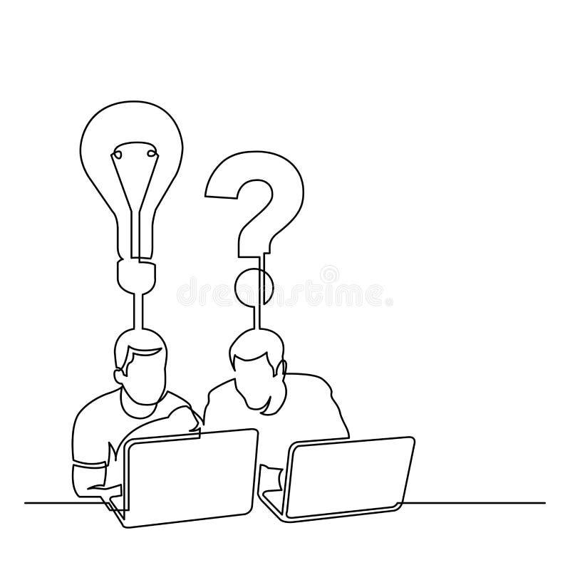 A lápis desenho contínuo de dois homens que sentam-se com laptop ilustração royalty free