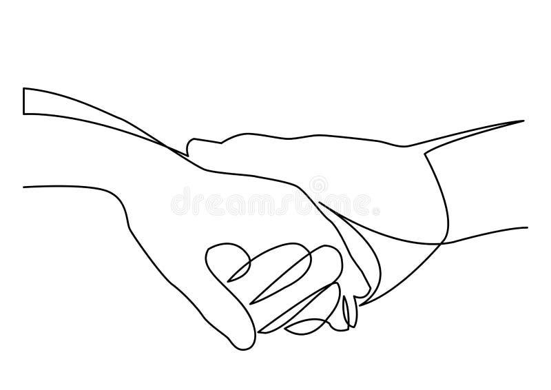 A lápis desenho contínuo de manter as mãos unidas ilustração do vetor
