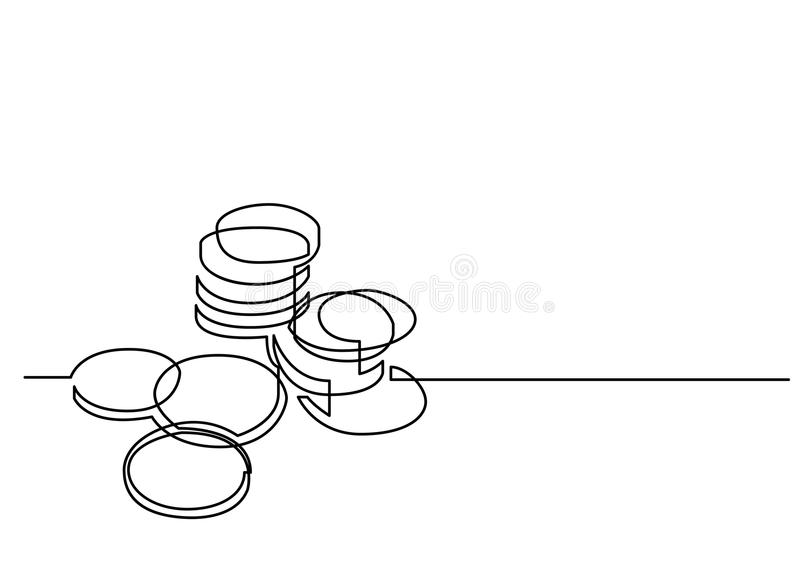 A lápis desenho contínuo de moedas do dinheiro ilustração royalty free