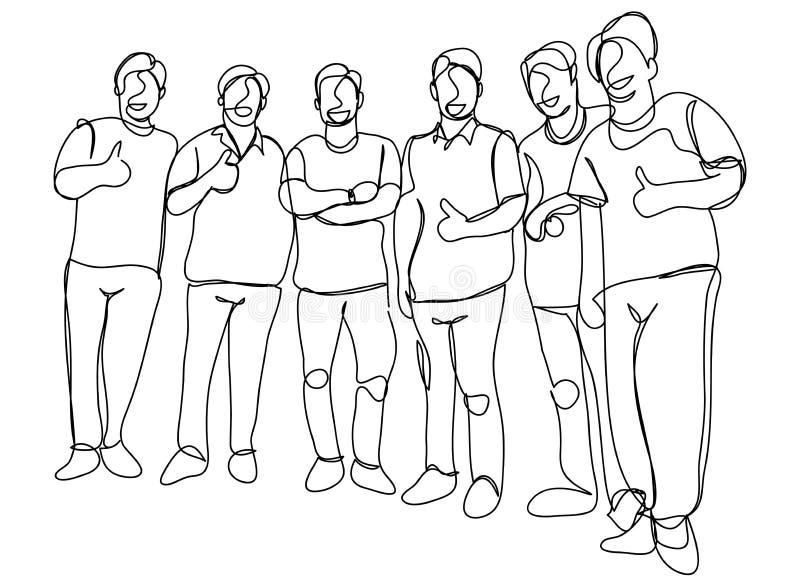 A lápis desenho contínuo de um grupo de amigos que apreciam uma linha ilustração da dança ilustração royalty free