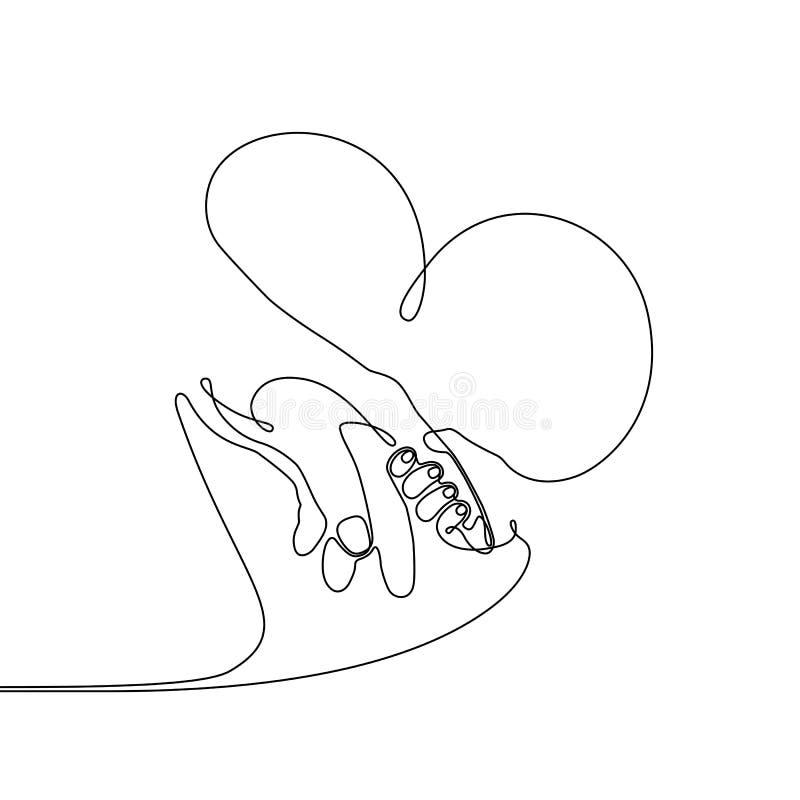 A lápis desenho contínuo de uma mão da criança do bebê que guarda o pai ilustração royalty free