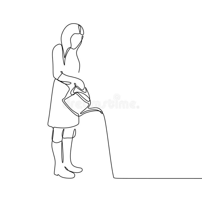 a lápis desenho contínuo de uma mulher que molha uma planta ilustração royalty free