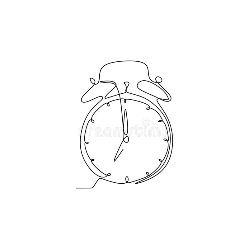 A lápis desenho contínuo do despertador ilustração stock