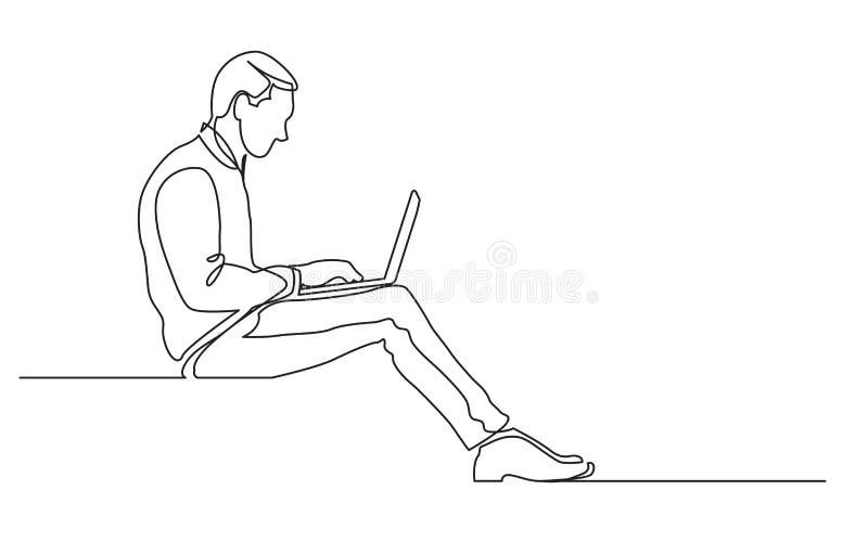 A lápis desenho contínuo do funcionamento de assento do trabalhador de escritório no laptop ilustração do vetor