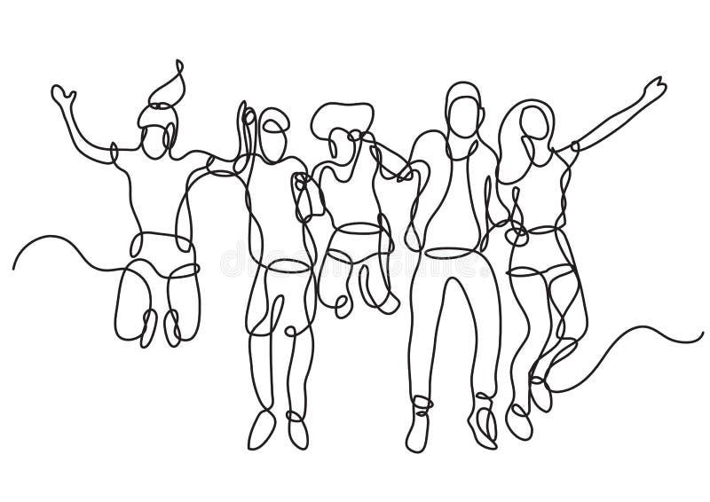 A lápis desenho contínuo do grupo feliz de salto dos estudantes ilustração stock