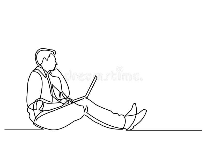 A lápis desenho contínuo do homem de negócios que senta-se que pensa com regaço ilustração do vetor
