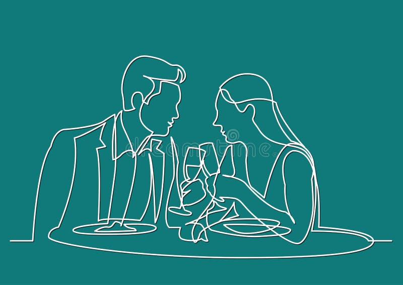 A lápis desenho contínuo do homem e da mulher que datam o jantar no restaurante ilustração royalty free