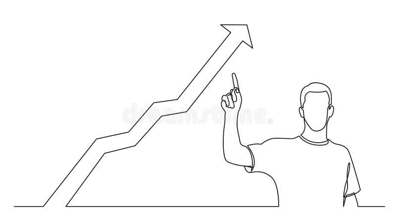 A lápis desenho contínuo do homem estando que aponta o dedo no gráfico crescente ilustração do vetor