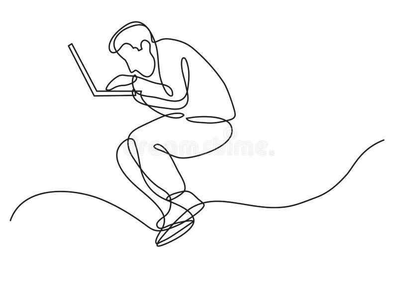 A lápis desenho contínuo do homem focalizado que trabalha no laptop ilustração royalty free