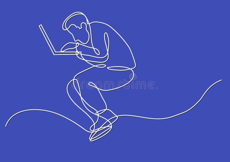 A lápis desenho contínuo do homem focalizado que trabalha no laptop ilustração stock