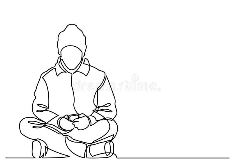 A lápis desenho contínuo do homem novo que senta-se com telefone celular ilustração stock