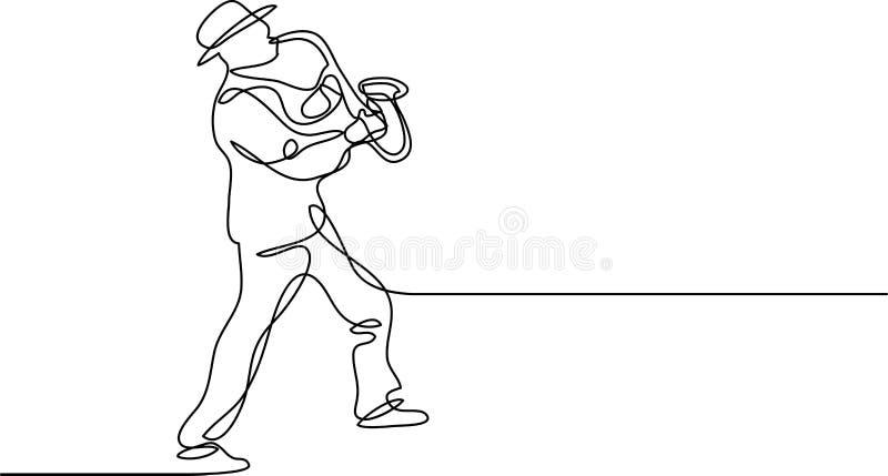 A lápis desenho contínuo do jogador de saxofone ilustração do vetor