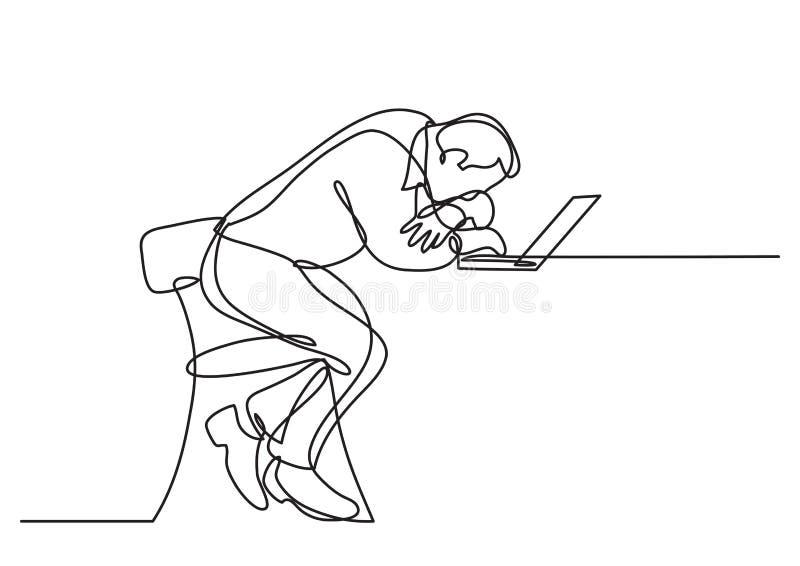 A lápis desenho contínuo do laptop de assento do bihind do homem de negócios deprimido ilustração do vetor