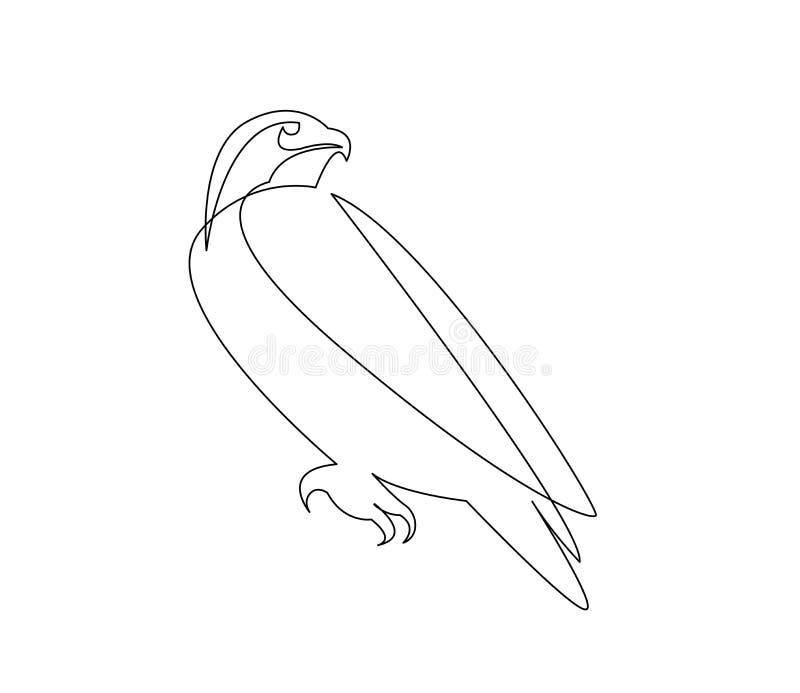 A lápis desenho contínuo do pássaro do falcão ilustração royalty free