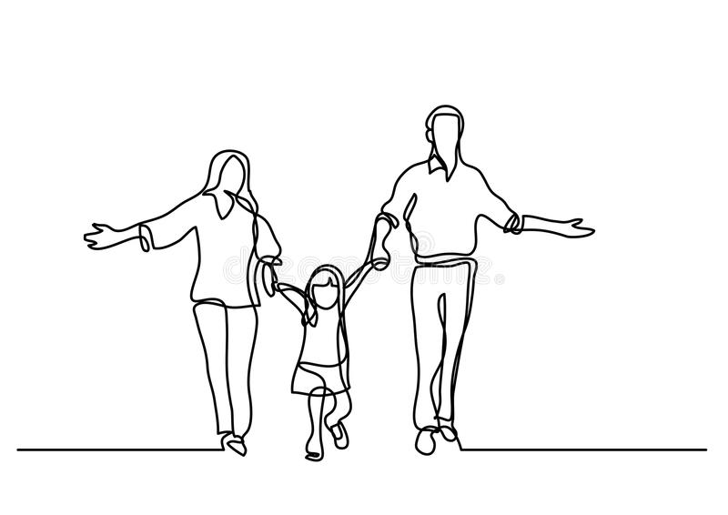 A lápis desenho contínuo do pai e da criança da mãe ilustração stock