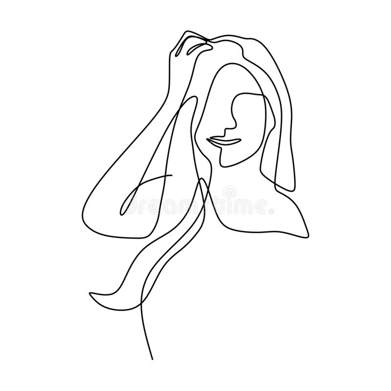 A lápis desenho contínuo do projeto minimalista da cara bonito da menina no fundo branco ilustração royalty free
