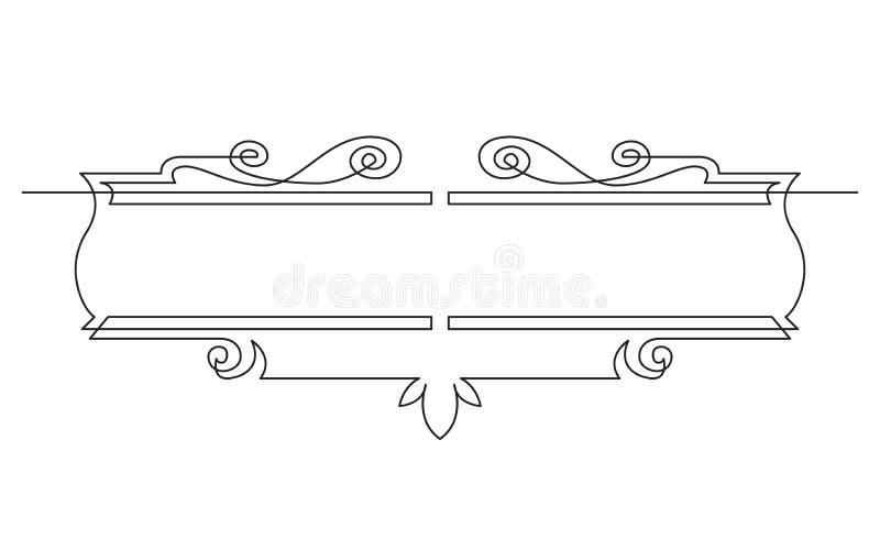 A lápis desenho contínuo do projeto simétrico da bandeira da vinheta ilustração royalty free