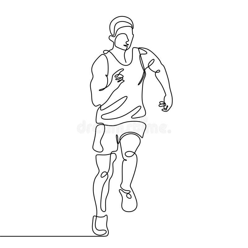 A lápis desenho contínuo do tema minimalista do esporte do projeto do corredor ilustração do vetor