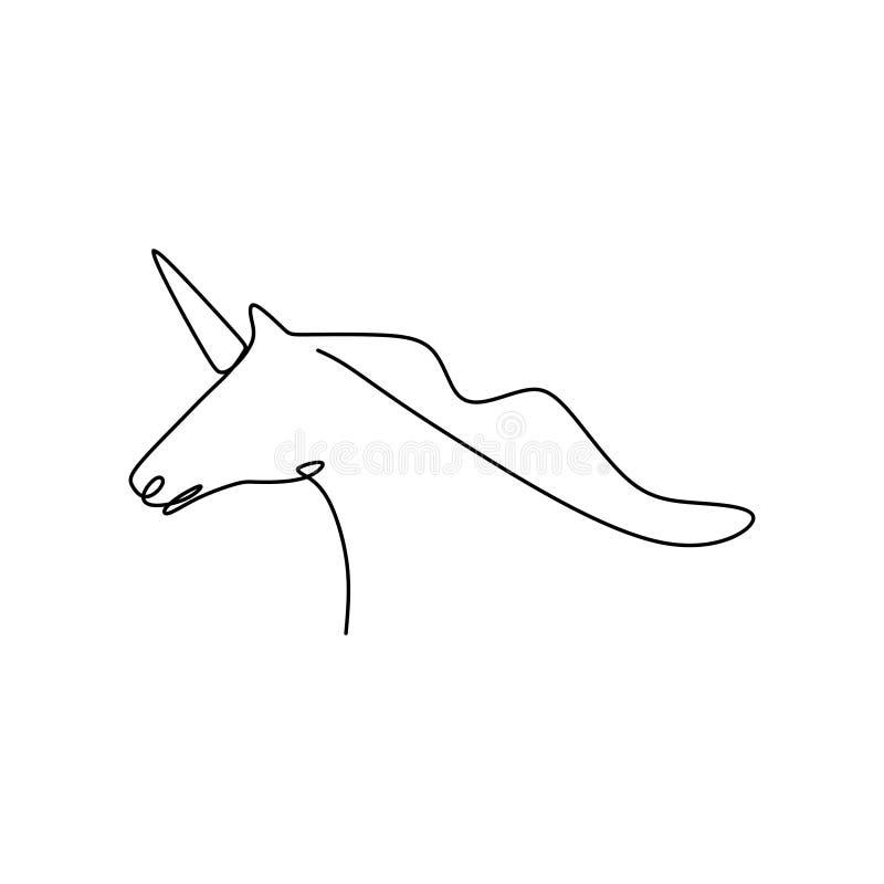 a lápis desenho contínuo do unicórnio ilustração stock