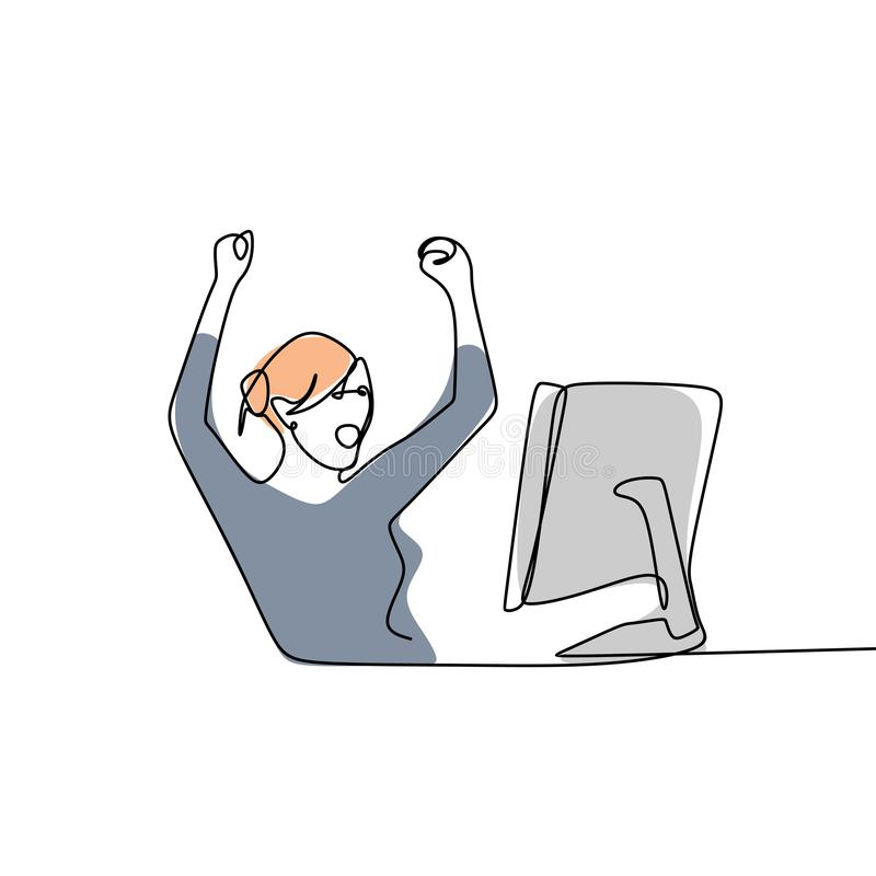 a lápis desenho contínuo dos empregados do sexo feminino que terminam com sucesso seu trabalho ilustração stock
