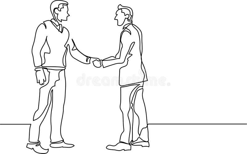 A lápis desenho contínuo dos executivos que encontram o aperto de mão ilustração royalty free