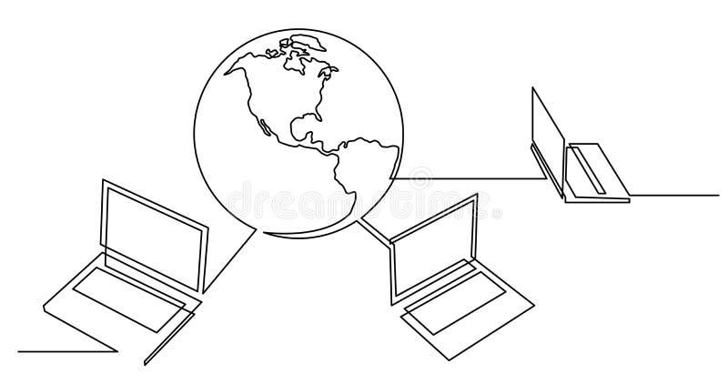 A l?pis desenho cont?nuo dos laptop conectados ao mundo ilustração stock