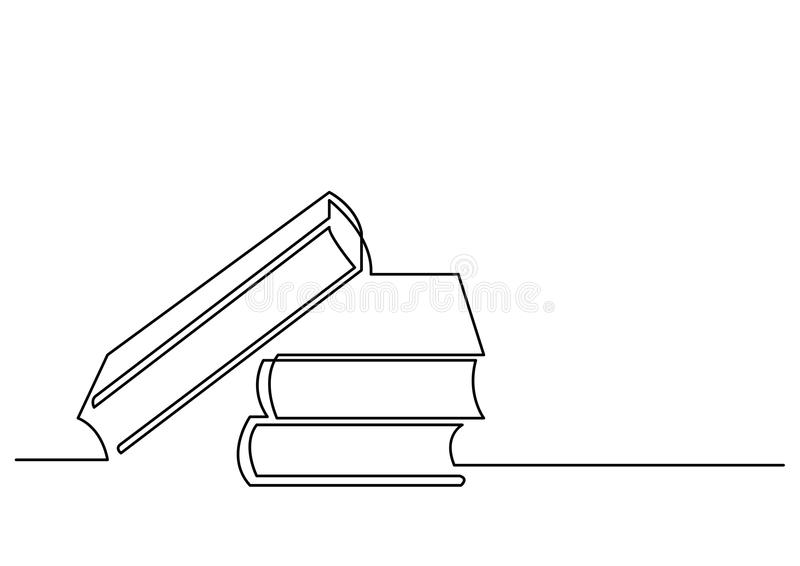 A lápis desenho contínuo dos livros ilustração royalty free
