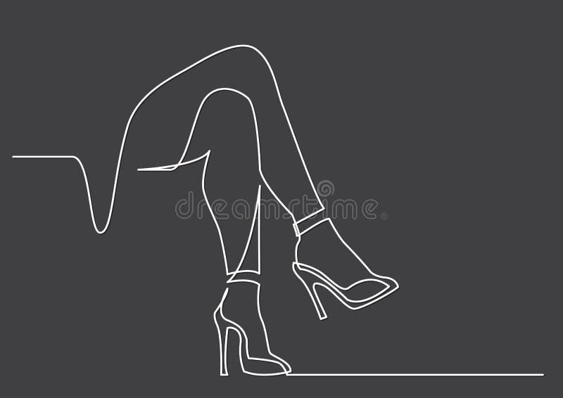 A lápis desenho contínuo dos pés despidos das mulheres nos saltos altos ilustração do vetor