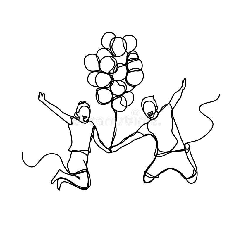 A lápis desenho contínuo dos pares novos que saltam guardando o balão Conceito romântico com projeto minimalista Bom para o Valen ilustração do vetor