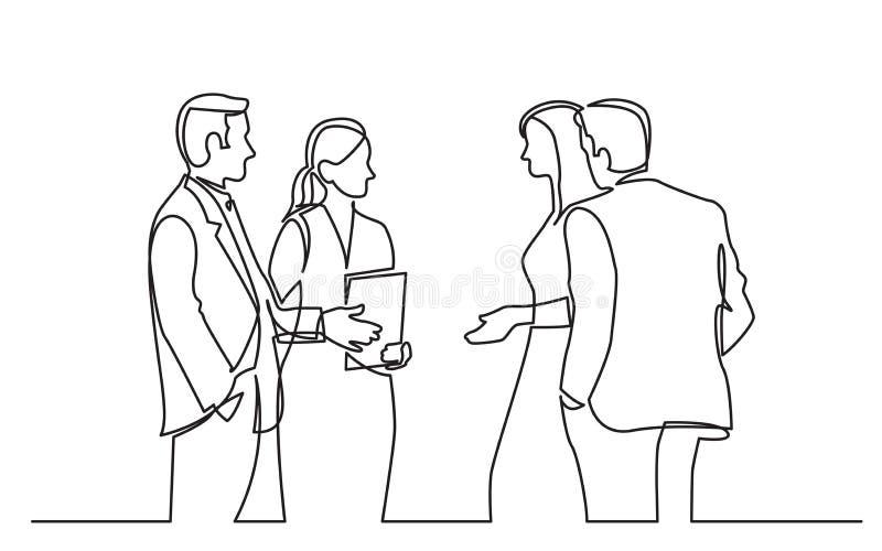 A lápis desenho contínuo dos povos estando do businee que discutem o negócio ilustração do vetor