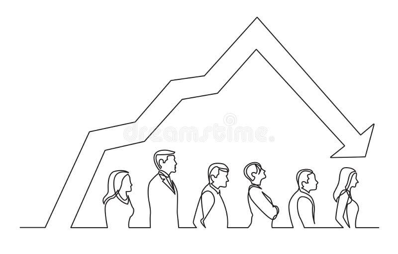 A lápis desenho contínuo dos povos que estão na linha do gráfico de diminuição ilustração royalty free