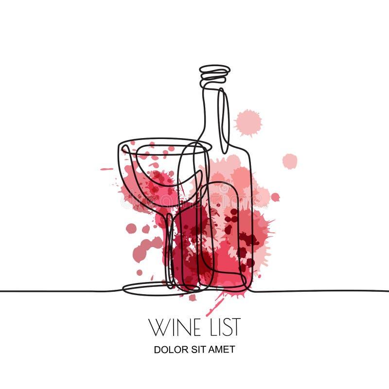 A lápis desenho contínuo A ilustração linear do vetor do vinho vermelho ou cor-de-rosa e do vidro na aquarela espirra o fundo ilustração stock