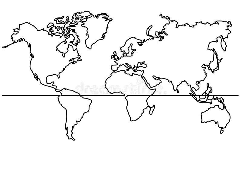 A lápis desenho contínuo - mapa do mapa do mundo ilustração stock