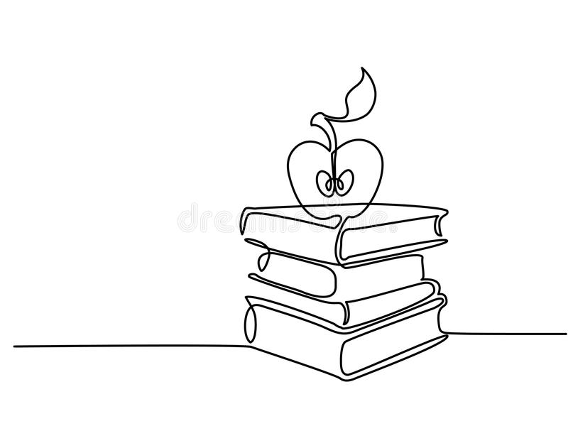 A lápis desenho contínuo Pilha de livros com maçã ilustração royalty free