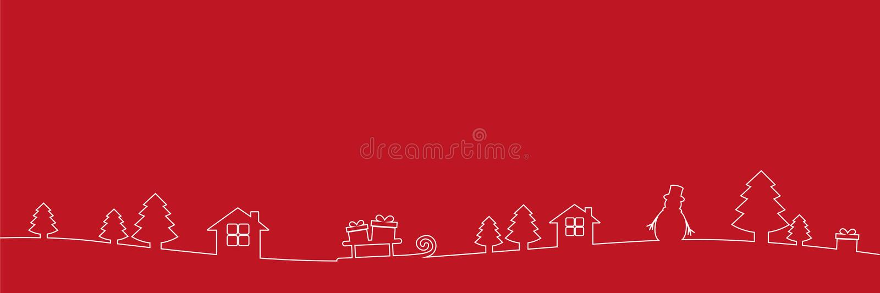 A lápis desenho da decoração da beira do White Christmas no fundo vermelho ilustração do vetor