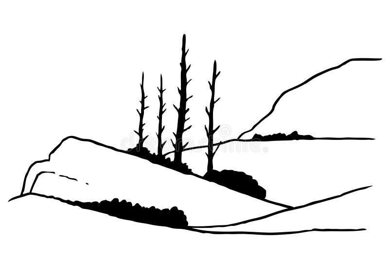 A lápis desenho da montanha e da árvore ilustração royalty free