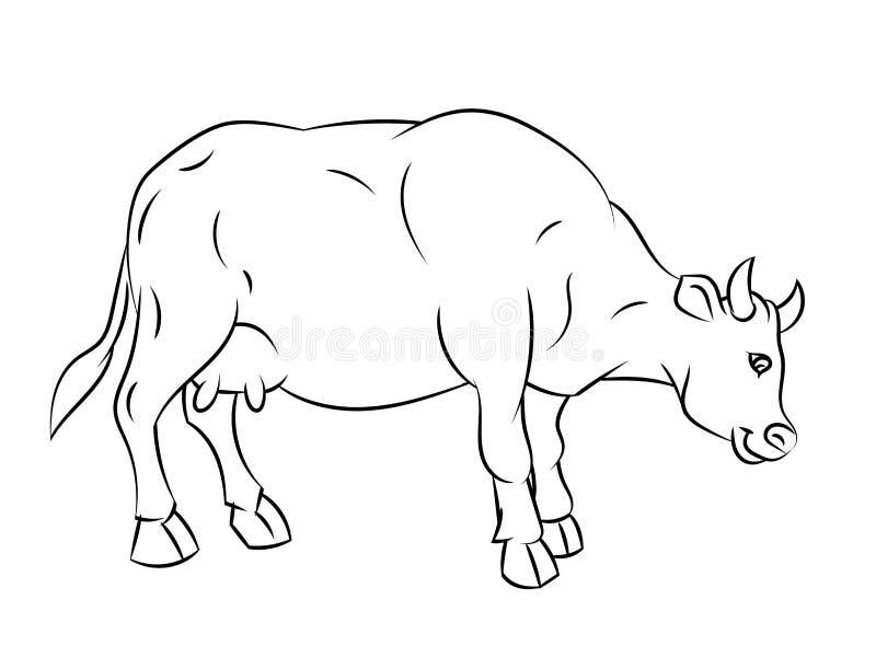 A lápis desenho da vaca - linha simples vetor ilustração stock